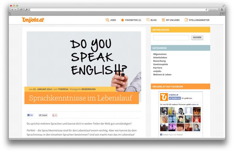 unijobsat der blog - Sprachniveau Lebenslauf